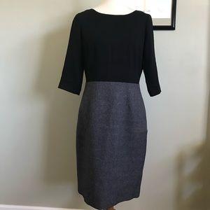 Tahari color block black and gray career dress 10